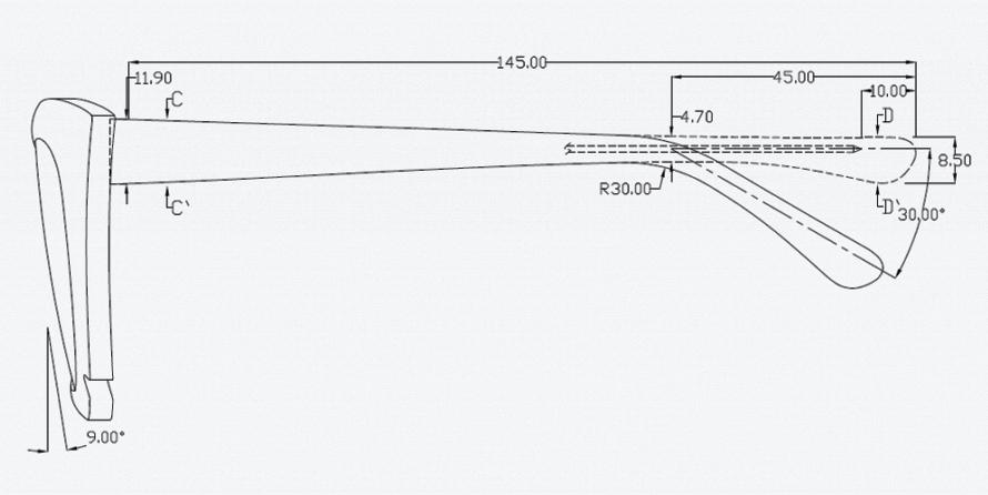 Эскиз очков - чертеж заушников фото 2